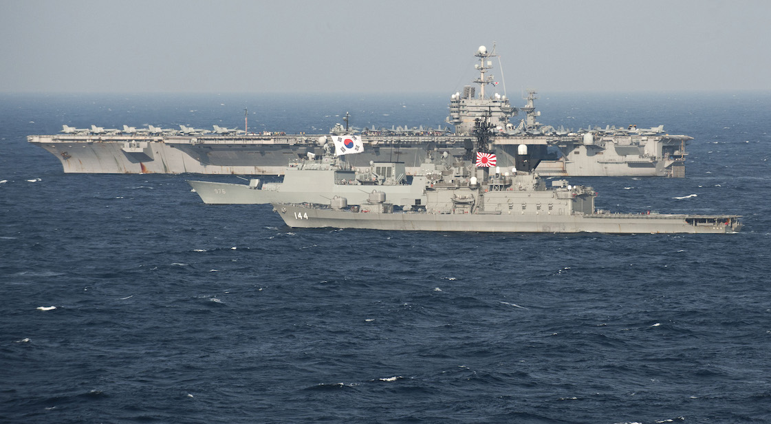 Japanese and South Korean naval vessels
