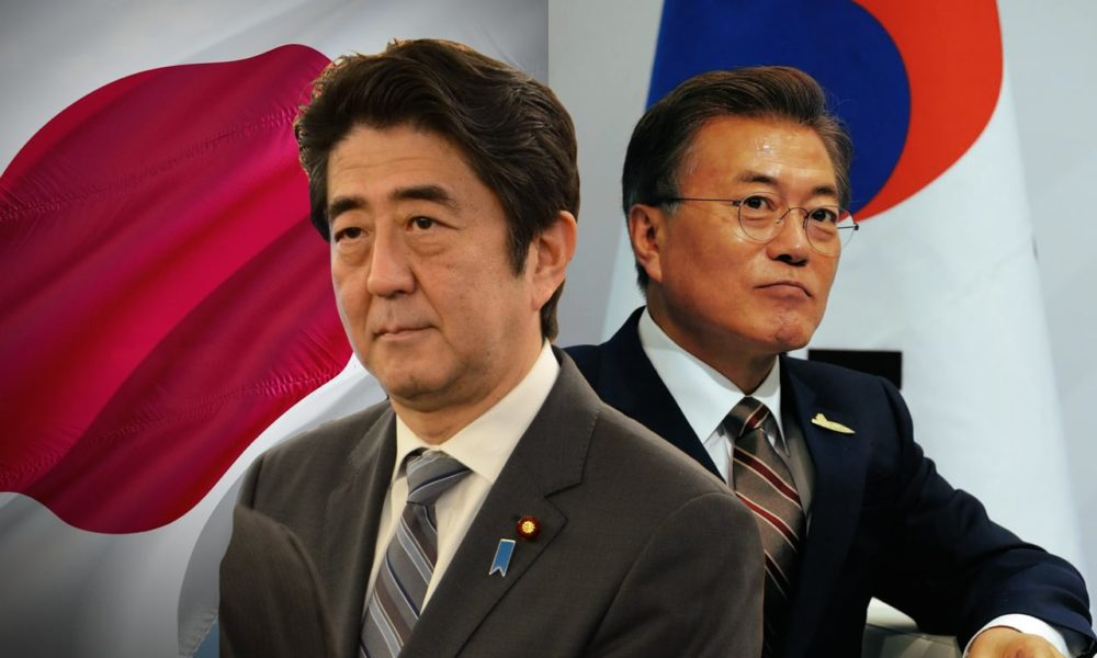 Japan PM Abe and South Korea President Moon